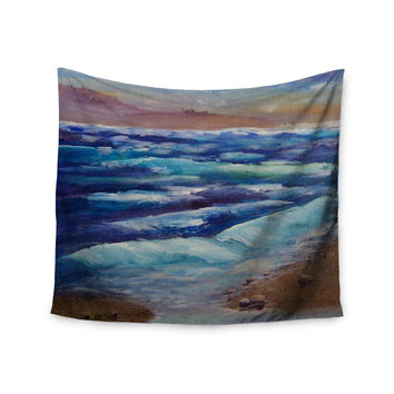 "Cyndi Steen ""Beach Dreams"" Blue Brown Wall Tapestry"