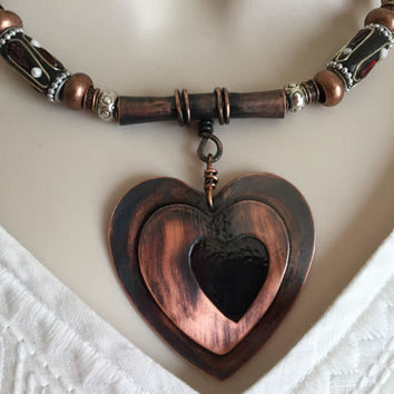 Black Heart and Copper Necklace set, Copper Jewelry, Heart Jewelry, Black Heart Necklace, Gift for her,  Unique Jewelry, Handcrafted Jewelry