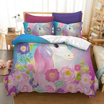 Cilected 3D Unicorn Bedding Set Queen King Size Watercolor Print Bed Set Kids Girl Flower Duvet Cover Colored Dreamlike Bedlinen