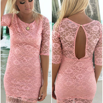 Napa Valley Lace Bodycon Quarter Sleeve Blush Pink Cocktail Dress