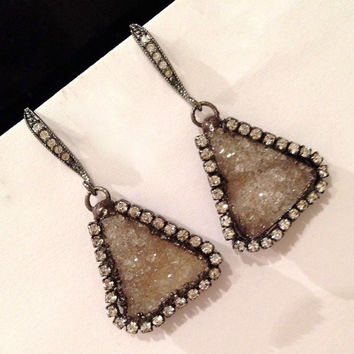 Druzy Earrings Sand Beige Druzy Quartz Earrings Swarovski Crystal Oxidized Sterling Silver Beach Wedding