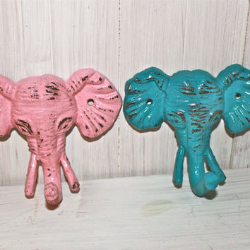 Pink & Turquoise ELEPHANT Wall Hook Set by AquaXpressions