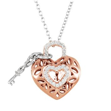 Diamond Heart Lock and Key Necklace in 14k Rose Gold Plate and Silver