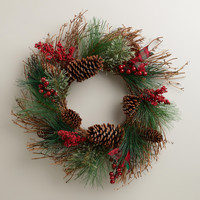 Twig and Pinecone Buon Natale Wreath - World Market