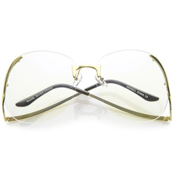 Women's Retro Oversize Low Temple Clear Lens Glasses C291