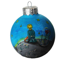 Hand Painted Christmas Ornaments, Ready to ship Christmas ball Glass Christmas Ornament New year Christmas Craft Gift, Little Prince Exupery