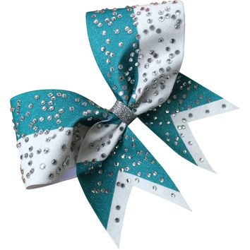 Teal and white glitter bow with big rhinestones