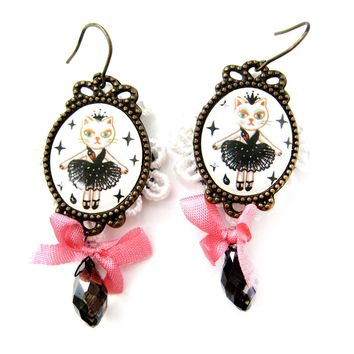 Kitty Cat Ballerina Tutu Illustrated Dangle Earrings with Lace and Ribbon Details | Animal Jewelry