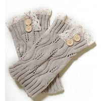 Lace Motif Button Accent Khaki Tan Boot Topper, Boot Cuff, Leg Warmer, Beige, Women's Accessories