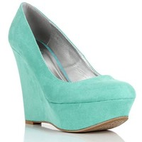 SALE-Mint Faux Suede Wedges