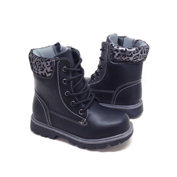 Girls Black Boots with Leopard Print Detail and Side Zipper