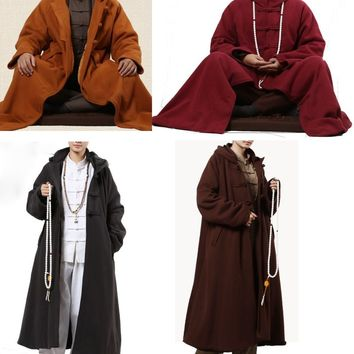 4colors winter warm thick Buddhist meditation cloak monks cape coat lay abbotnun martial arts zen robe red/brown/gray/yellow