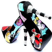 Alice in Wonderland Hand-Painted Crystal Heels