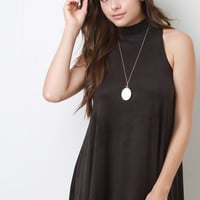 Mock Neck Sleeveless Suede Swing Dress