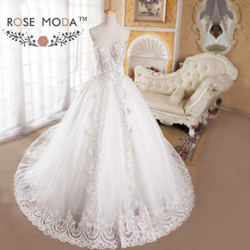Strapless Lace Appliqued Full A Line Wedding Dress Illusion Neck Royal Bridal Gown Vestidos de Noiva Real Photos