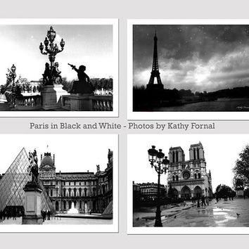 Paris Photography, Paris Black and White Photography, Set of Four Paris Blacka and White Prints, Paris Fine Art Photography Print Set 5x7