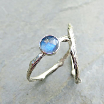 Moonstone Twig Wedding Set, Matching Sterling Silver Tree Branch Rings, Rose Cut Moonstone Engagement Ring in Bright Silver, Stacking Rings
