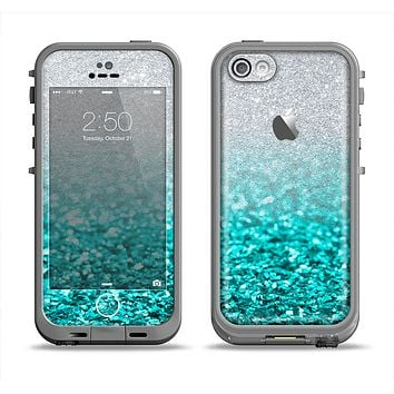 The Aqua Blue & Silver Glimmer Fade Apple iPhone 5c LifeProof Fre Case Skin Set