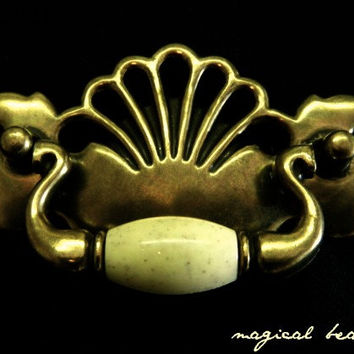 Vintage Solid Brass Clam Shell Hardware with Antique Ivory Ceramic Drop Pull