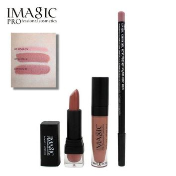 LMF57D Professional IMAGIC Makeup lip Waterproof Long Lasting Lipgloss+ Lipstick+ LipLiner Pencil Makeup Set Long Lasting Lipstick