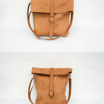 free shipping - light brown leather tote - messenger bag - crossbody bag - handbag - for men - for women - with small pouch - rolltop