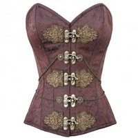 CD-919 - Brown Brocade Pattern Corset with Brass Clasps and Embroidery Design