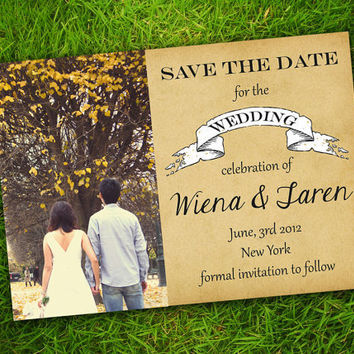 DIY Printable - Vintage Rustic Classic Customizable Photo Save The Date Invitation Card