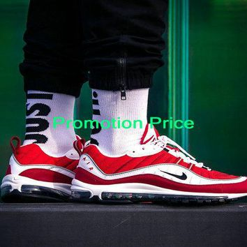 Real Nike Air Max OG 98 Gundam Gym Red White Black Running Shoes AH6799-101 Authentic shoe