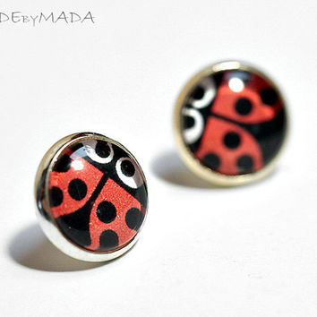 Ladybug fun studs Earrings, Free WorldWide Shipping Red and Black Cute Jewelry from MADEbyMADA
