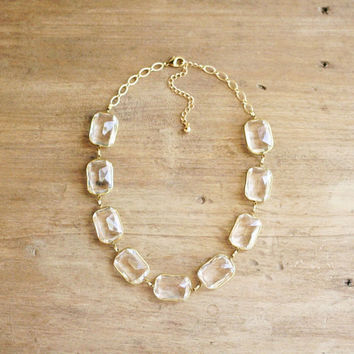 Crystal Clear Lucite Strand Statement Necklace