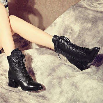 Women ankle boots womens large size boots 34-43 botas mujer invierno 2016 lace up pointe genuine leather square thick med heels