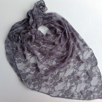 Boho Gray lace shawl, Gray scarf, Holiday gift, Birthday gift, Boss gift,Ladies bandana, Fall scarf, Fashion boho headband Gift for Boss