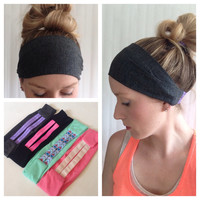 Grey Workout Headband - Yoga Headband - Knit Headband - Elastic Headband - Grey Yoga Headband - Grey Headband - Grey Aztec Headband