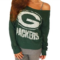 Green Bay Packers Off Shoulder Jersey Top | SportyThreads.com