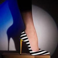 Striped High Heel Shoes