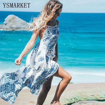 PEAPGC3 Sexy Loose Long Summer Dresses 2017 New Women Beach Wear Sleeveless Multicolor Floral Printed Spaghetti Strap Maxi Dress Q1017
