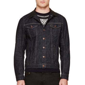 Diesel Blue And Black Leather-trimmed Elshar Jacket