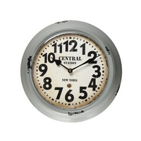 "Furnistar Gray Iron Retro Wall Clock ""Central Station New York"""
