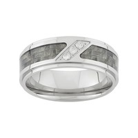1/10 Carat T.W. Diamond Stainless Steel & Carbon Fiber Wedding Band - Men (White)