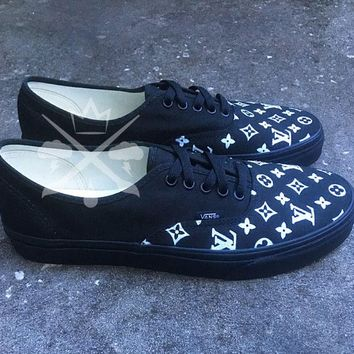 Black Louis Vuitton Luxury Designer Brand Custom Vans Authentic c37b78c01