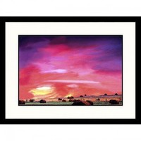 Great American Picture Hay Bales at Sunset Wood County, Texas Framed Photograph - Ray Hendley - IS62