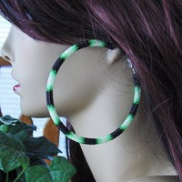 "Black And Green Extra Large Beaded Hoop Earrings - 3"" Diameter"