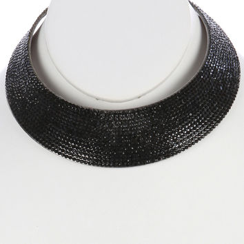"10"" black crystal choker curved collar necklace bib 1.50"" wide"