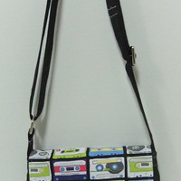 Small Messenger Bag - made by me with mixed tape fabric and black denim - crossover purse