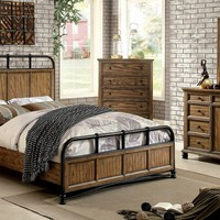 Mcville collection industrial design style dark oak finish wood with metal frame accents queen bed set