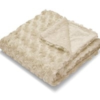 """Little Starter Embossed Micromink Reverse to Faux Fur Rosette Baby Blanket, 30"""" x 40"""", Taupe"""