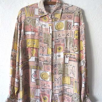 90s Peach Color Abstract Button Up - Cubist Fresh Prince Style Long Sleeve Shirt - Womens size M