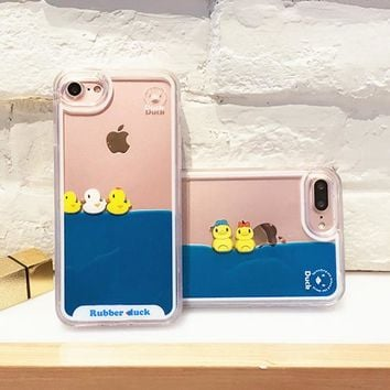 Case For iPhone 8 8Plus 7 7Plus liquid 3D Duck Swimming Transparent Dynamic PC hard Back Cover for iPhone 5 5S SE 6S 6 Plus