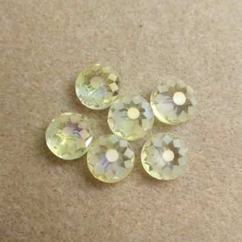 CCOIN-001 - Chinese Crystal Coin Beads,Lemon,9x14mm | Pkg 6