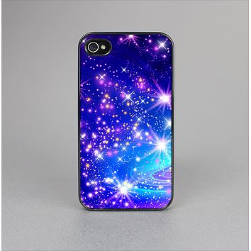 The Glowing Pink & Blue Starry Orbit Skin-Sert for the Apple iPhone 4-4s Skin-Sert Case